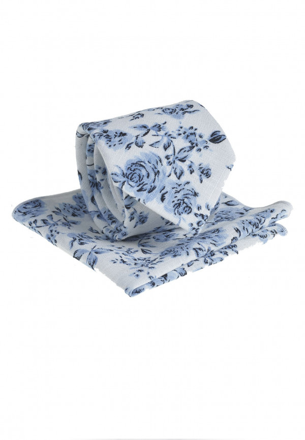 White And Navy Floral Pattern Tie & Hanky