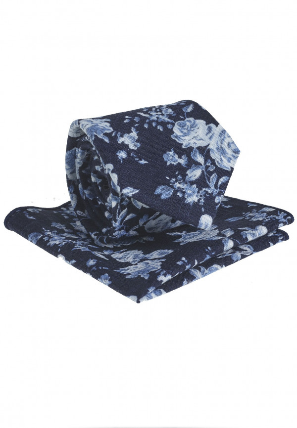 Navy And White Floral Pattern Tie & Hanky