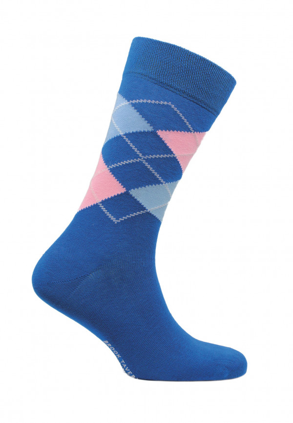 Falmouth Royal Blue with Pink and Blue Diamond Design Sock