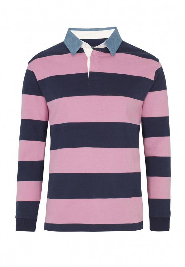 Runswick Navy and Pink Hoop Cotton Rugby Shirt