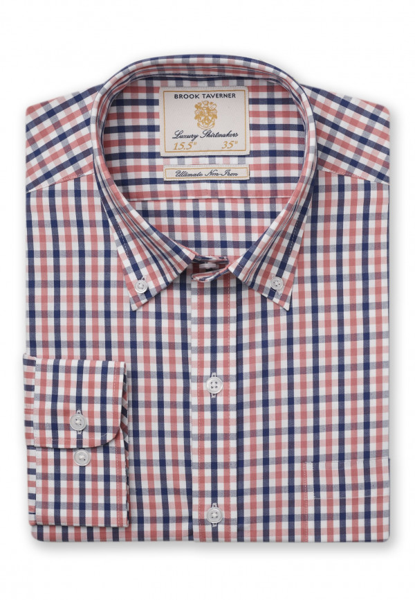 Long Sleeve Navy And Tangerine Gingham Shirt