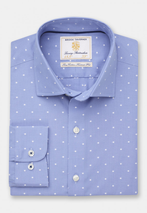 Business Casual Blue Pinstripe With White Spot Shirt