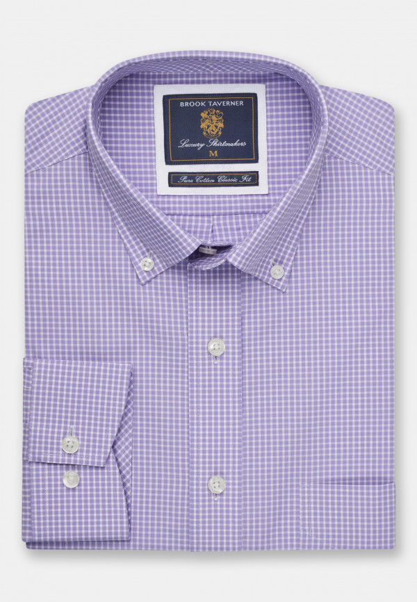 Long And Short Sleeve Lilac Neat Check Button Down Collar Shirt