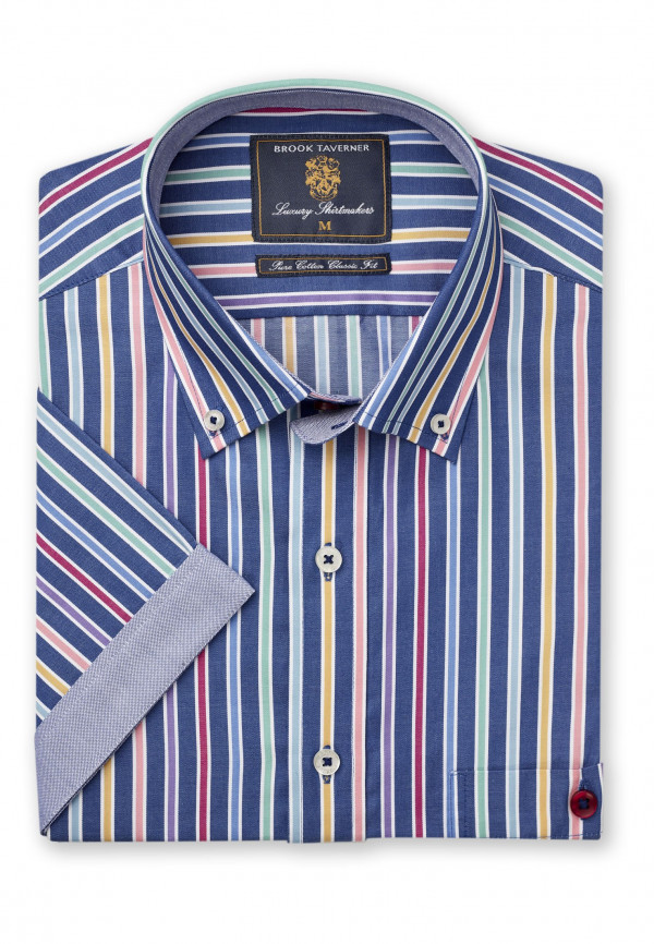 Short Sleeve Classic and Tailored Fit Blue with Orange Blue and Red Stripe Shirt