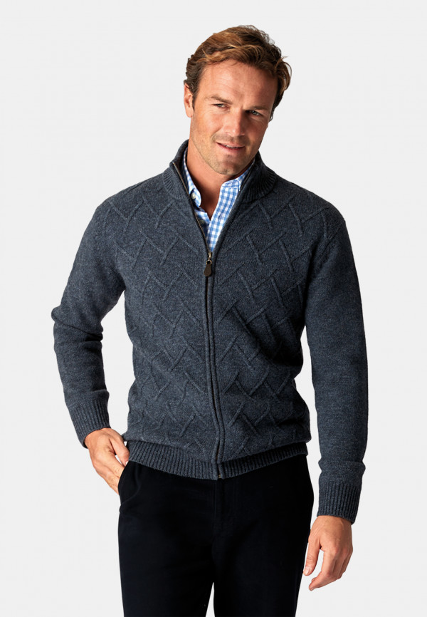 Huddersfield Airforce 5 Gauge Zip Through Cable Knit Cardigan