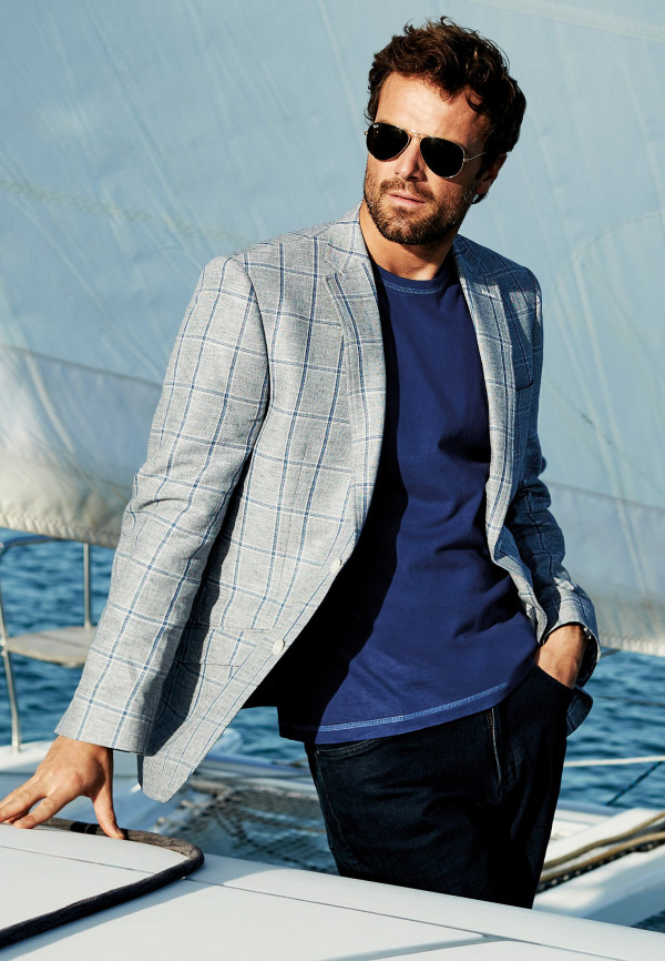 Nostell Blue Window Pane Check Classic Fit Jacket