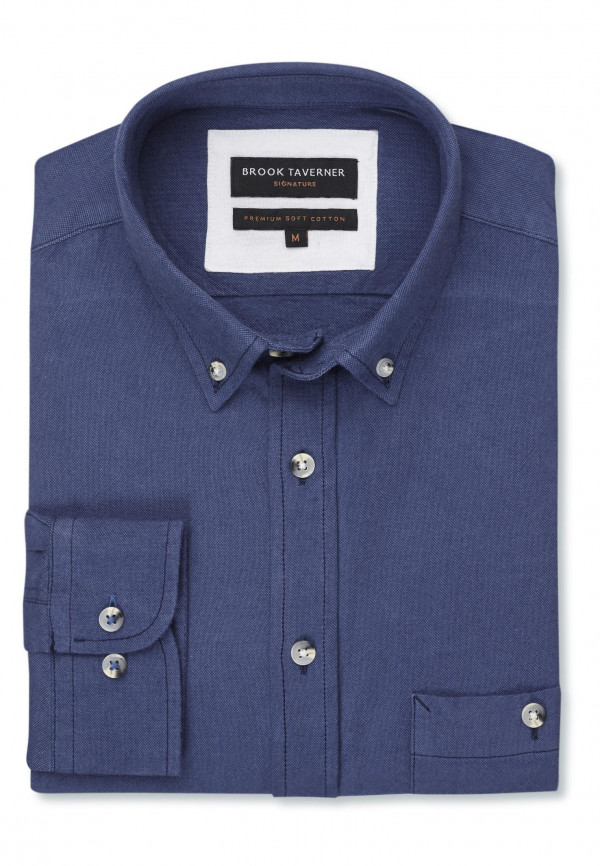 Tailored Fit Long Sleeve Navy Soft Touch Oxford Button Down Collar Shirt