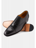 Henley Black Oxford Shoe Leather Sole And Goodyear Construction
