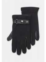 Black Knitted Nappa Glove with Leather Palm