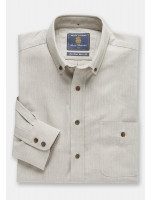 Stone Herringbone Brushed Flannel  'Soft Touch' Cotton Shirt
