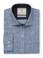 Tailored Fit Blue And Navy Flower Single Cuff Shirt