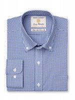 Classic And Tailored Fit Navy Gingham Single Cuff Shirt