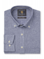 Classic And Tailored Fit Plain Blue Single Cuff Shirt