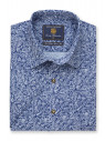 Short Sleeve Linen Cotton Navy Leaf Print Classic Fit Shirt