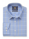 Tailored Fit Sky Blue and Lemon Grid Check Shirt