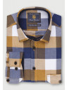 Classic and Tailored Fit Mustard Navy Blue and Winter Stone Herringbone Melange Check Brushed Cotton Shirt