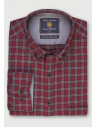 Classic and Tailored Fit Wine with Dove Grey Overcheck Melange Brushed Cotton Shirt
