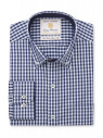 Tailored Fit Navy and Blue Gingham Shirt