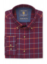 Cashmere Touch Burgundy With Blue, Red and Mustard Check Shirt