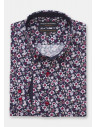 Navy With Red and White Flower Print Shirt
