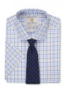 Short Sleeve Navy, Blue And Yellow Neat Check Shirt