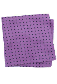 Purple With Black Dot 100% Silk Pocket Square