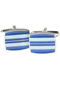 Blue And Turquoise Square Chrome Cufflinks