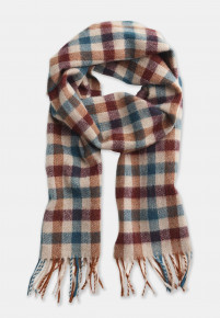 Rust, Green, Ginger and Sand Check 100% Lambswool Scarf