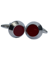 Red Circle Chrome Cufflinks