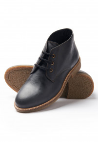 Edgar Black Leather Chukka Boot With Rubber Sole
