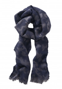 Navy and Charcoal Pattern Scarf