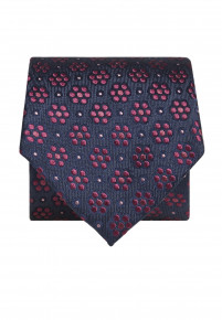 Blue with Red Flower Silk Tie