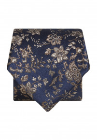 Blue with Gold Flower Silk Tie