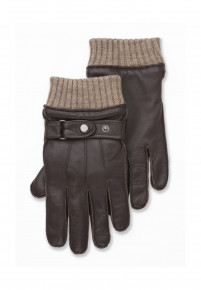 Brown Leather Glove with Knitted Wrist