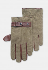 Tan Knitted Nappa Glove with Leather Palm