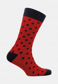 St Ives Red with Navy Spot Sock