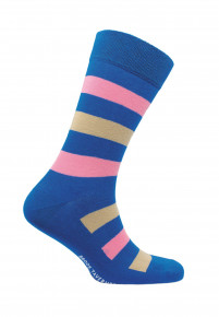 Bude Blue with Pink and Lemon Stripe Sock