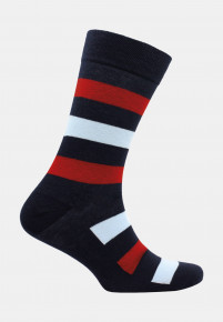 Bude Navy with Red and Sky Blue Stripe Sock