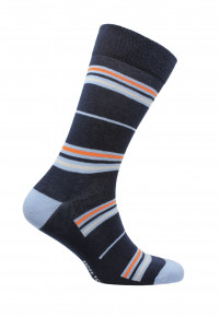Coverack Navy with Blue Orange and Lemon Fine Stripe Sock