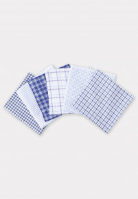 Luxury Handkerchief - Assorted Blue and White Check Designs - Presentation Pack of Six