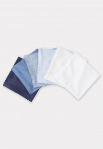 Luxury Handkerchief - Assorted Blue and White - Presentation Pack of Six