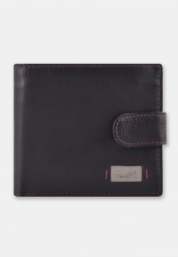 Black and Cognac Leather RFID Wallet