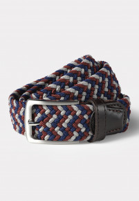 Chester Navy and Red Woven Stretch Belt