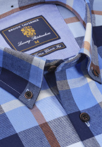 Classic and Tailored Fit Navy Blue Ginger and Winter Stone Bold Plaid Soft Handle Check Shirt