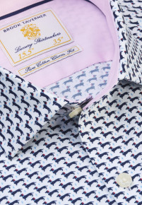White with Navy Dachshund Print Business Casual Shirt