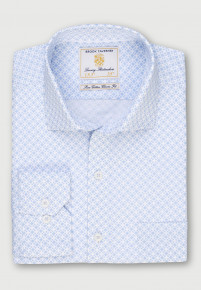 White with Sky Blue Diamond Design Classic and Tailored Fit Business Casual Shirt