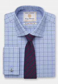 Single And Double Cuff Non-Iron Navy And Blue Check 100% Cotton Shirt