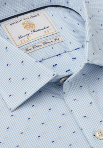 Classic And Tailored Fit Mint Micro Check with Navy And Blue Square Cuff Shirt