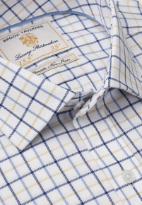 White With Navy, Blue And Yellow Check Shirt
