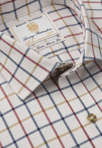 Navy And Rouge Check Single Cuff Shirt